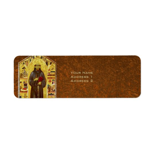 Saint Francis of Assisi Medieval Religious Icon Return Address Label