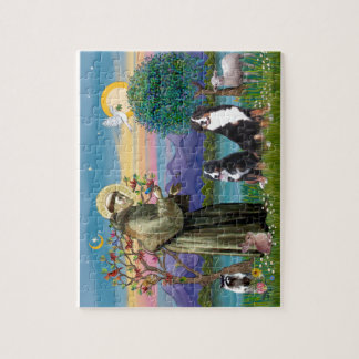 Saint Francis - Two Bernese Mountain Dogs Jigsaw Puzzle