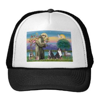 Saint Francis - Two Bernese Mountain Dogs Trucker Hat