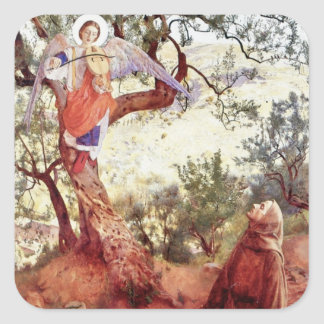 Saint Francis with Angel Square Sticker