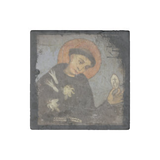 Saint  Francis with Lilies Stone Magnets