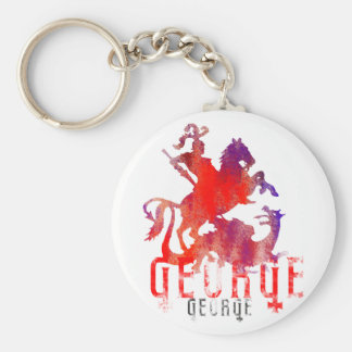 Saint George and Dragon Basic Round Button Keychain