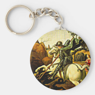 Saint George and the Dragon by Raphael Basic Round Button Keychain