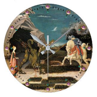 SAINT GEORGE, DRAGON AND PRINCESS LARGE CLOCK