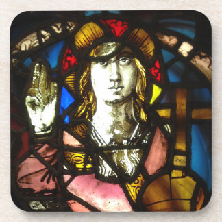Saint George the Dragon Slayer in Stained Glass Coaster