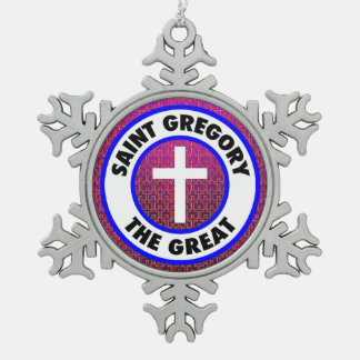Saint Gregory the Great Snowflake Pewter Christmas Ornament