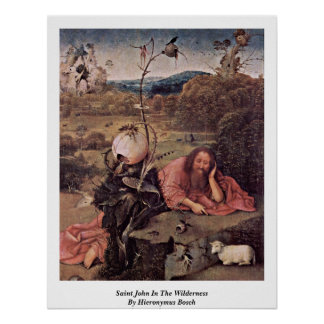 Saint John In The Wilderness By Hieronymus Bosch Poster