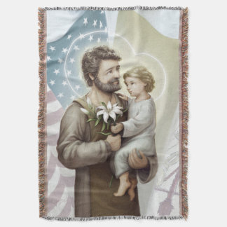 Saint Joseph the Protector Throw Blanket