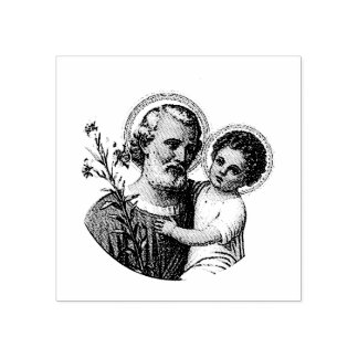 Saint Joseph with the Baby Jesus Rubber Stamp