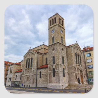 Saint Joseph's Church in Sarajevo. Bosnia and Herz Square Sticker