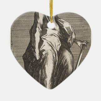Saint Jude (or Saint Matthias) Ceramic Heart Ornament