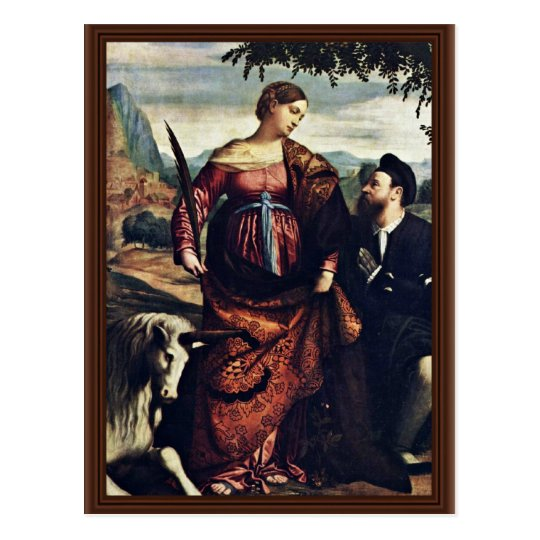 Saint Justina With The Unicorn, Postcard