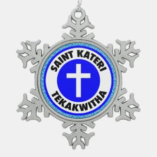 Saint Kateri Tekakwitha Snowflake Pewter Christmas Ornament