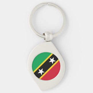 Saint Kitts and Nevis Flag Silver-Colored Swirl Keychain