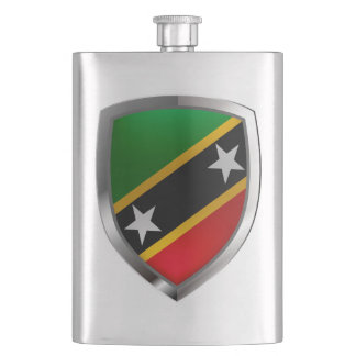 Saint Kitts and Nevis Metallic Emblem Flask