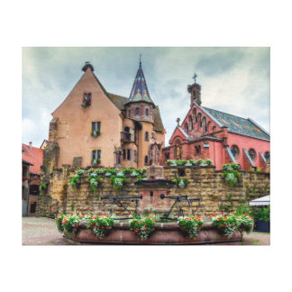 Saint-Leon fountain in Eguisheim, Alsace, France Canvas Print