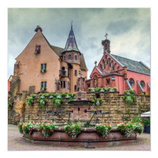 Saint-Leon fountain in Eguisheim, Alsace, France Card