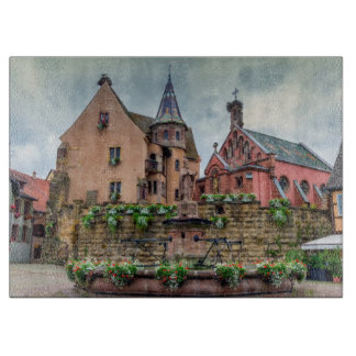 Saint-Leon fountain in Eguisheim, Alsace, France Cutting Board