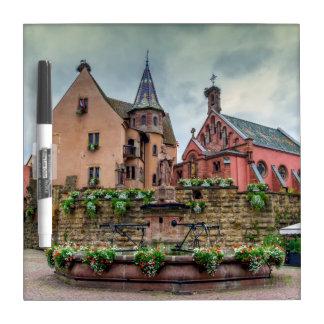 Saint-Leon fountain in Eguisheim, Alsace, France Dry Erase Board