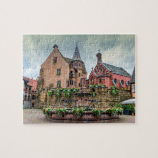 Saint-Leon fountain in Eguisheim, Alsace, France Jigsaw Puzzle
