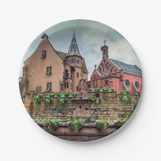 Saint-Leon fountain in Eguisheim, Alsace, France Paper Plate
