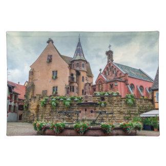 Saint-Leon fountain in Eguisheim, Alsace, France Placemat