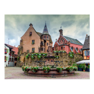 Saint-Leon fountain in Eguisheim, Alsace, France Postcard