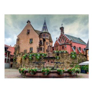 Saint-Leon fountain in Eguisheim, Alsace, France Postcard