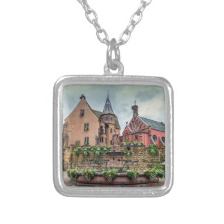 Saint-Leon fountain in Eguisheim, Alsace, France Silver Plated Necklace