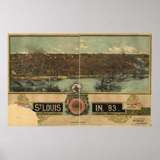 Saint Louis Missouri 1893 Antique Panoramic Map Poster