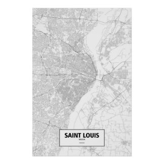 Saint Louis, Missouri (black on white) Poster