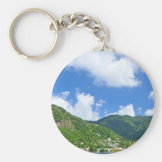 Saint Lucia Basic Round Button Keychain