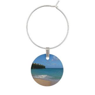 Saint Lucia Beach Tropical Vacation Landscape Wine Glass Charms