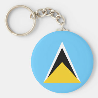 Saint Lucia Flag Basic Round Button Keychain