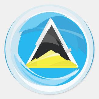 Saint Lucia Flag Classic Round Sticker