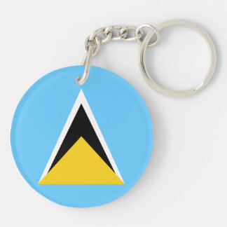 Saint Lucia Flag Double-Sided Round Acrylic Keychain