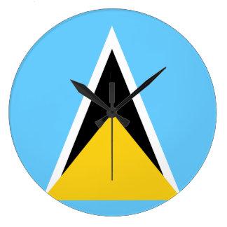 Saint Lucia Flag Large Clock