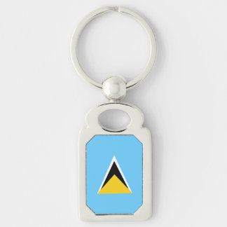 Saint Lucia Flag Silver-Colored Rectangle Keychain