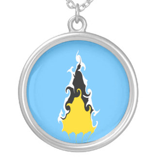 Saint Lucia Gnarly Flag Personalized Necklace