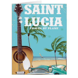 Saint Lucia retro Holiday poster art Card