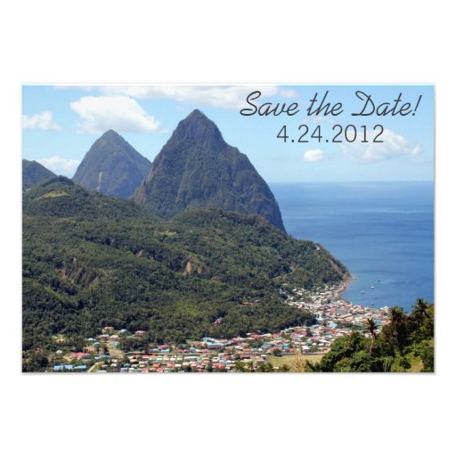 Saint Lucia Save the Date Cards Personalized Invitation