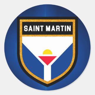 Saint Martin Flag Round Sticker