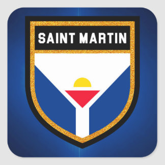 Saint Martin Flag Square Sticker
