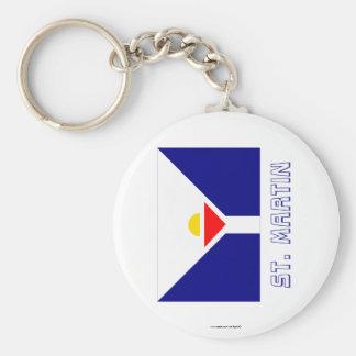 Saint Martin Flag with Name Basic Round Button Keychain