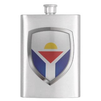 Saint Martin Metallic Emblem Hip Flask