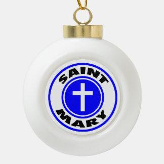 Saint Mary Ceramic Ball Ornament