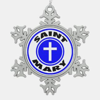 Saint Mary Pewter Snowflake Ornament