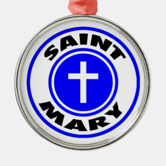 Saint Mary Silver-Colored Round Ornament