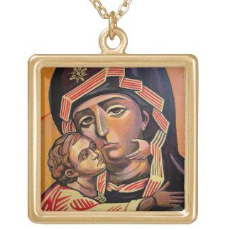 Saint Mary Teotokos Square Pendant Necklace