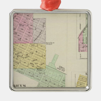 Saint Marys, Fostoria, and St. George, Kansas Silver-Colored Square Ornament